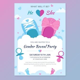Plantilla de invitación de revelación de género de dibujos animados