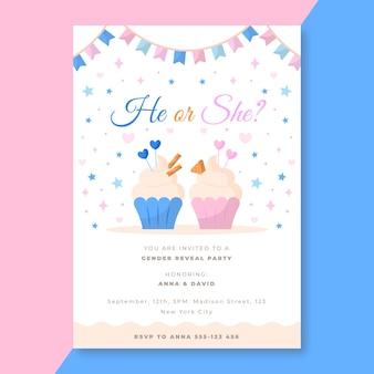 Plantilla de invitación de revelación de género de diseño plano