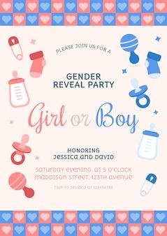 Plantilla de invitación de revelación de género plana