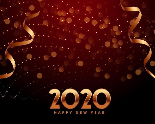 Plantilla de invitación de saludo de celebración de año nuevo 2020
