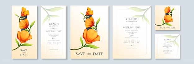 Plantilla de invitación simple de arte floral abstracto con tamaños variables