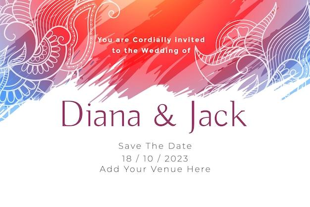 Plantilla de invitación de tarjeta de boda abstracta