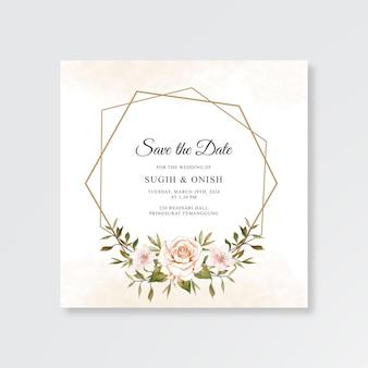 Plantilla de invitación de tarjeta de boda con acuarela floral