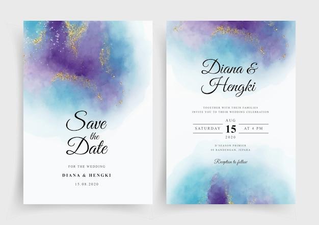 Plantilla de invitación de tarjeta de boda elegante con fondo de salpicaduras de acuarela
