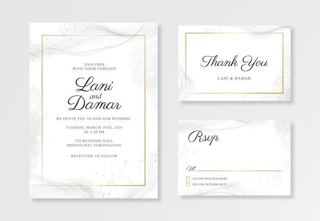 Plantilla de invitación de tarjeta de boda elegante con toques de acuarela