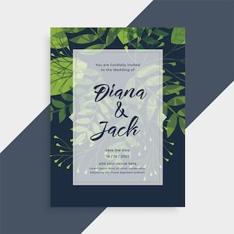 Plantilla de invitación de tarjeta de boda de estilo de hojas de naturaleza