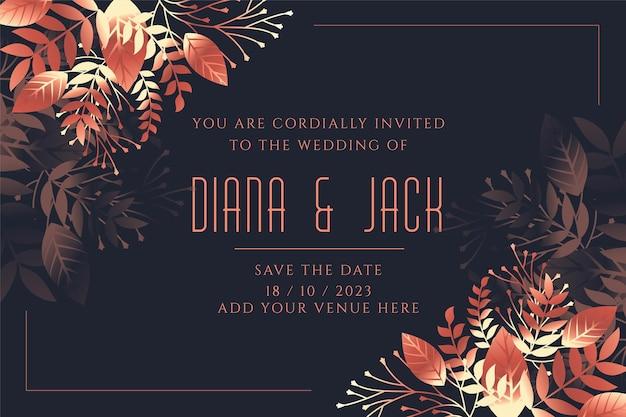 Plantilla de invitación de tarjeta de boda en estilo de hojas
