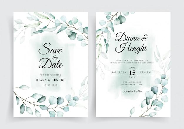 Plantilla de invitación de tarjeta de boda de eucalipto acuarela