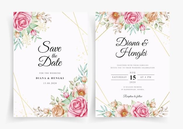 Plantilla de invitación de tarjeta de boda floral acuarela elegante