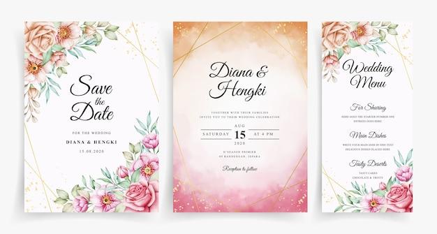 Plantilla de invitación de tarjeta de boda floral hermosa acuarela