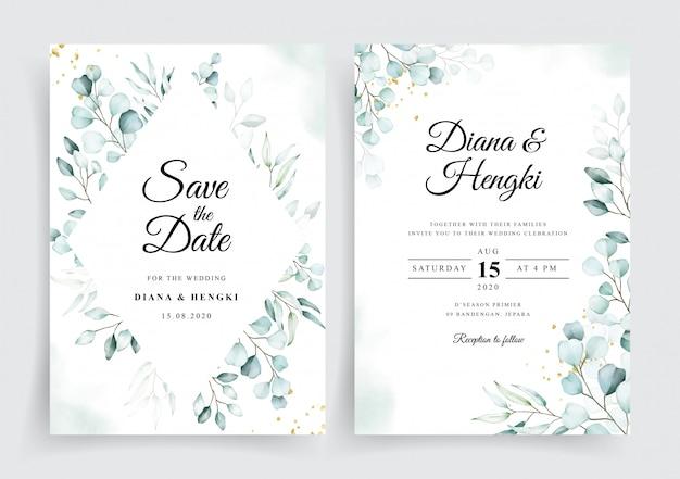 Plantilla de invitación de tarjeta de boda con hermosa acuarela de eucalipto suave