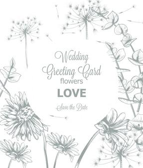 Plantilla de invitación de tarjeta de boda de margarita flores línea arte