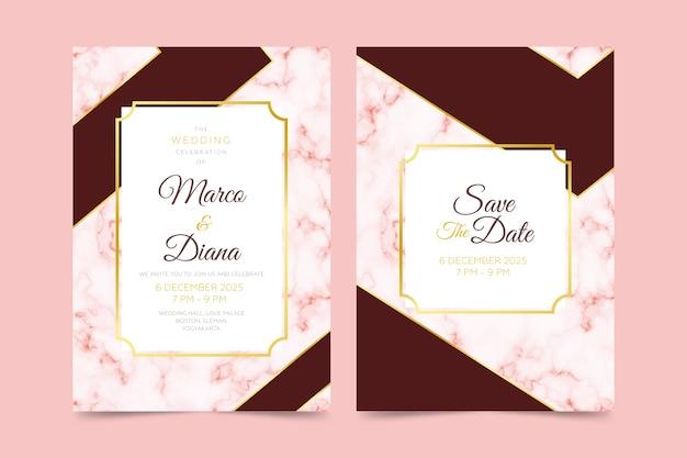Plantilla de invitación de tarjeta de mármol de boda