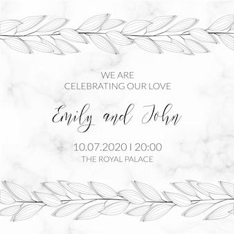 Plantilla de invitación con textura de mármol de ornamento de hojas