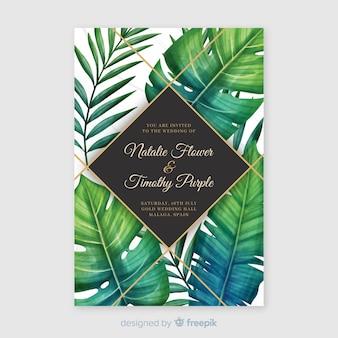 Plantilla de invitación tropical de boda en acuarela