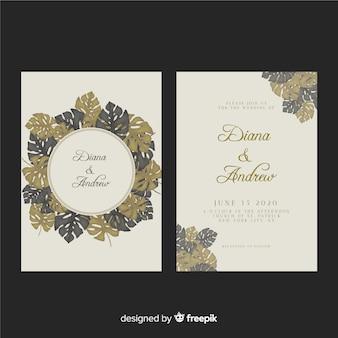 Plantilla de invitación tropical de boda