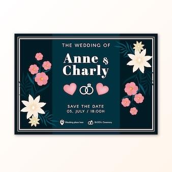 Plantilla de invitación vintage de boda