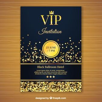 Plantilla de invitación vip dorada
