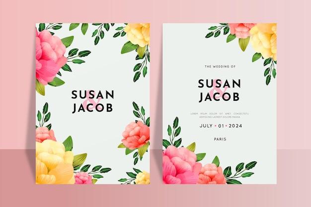 Plantilla de invitaciones de boda coloridas florales