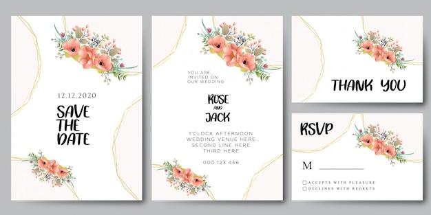 Plantilla de invitaciones de boda