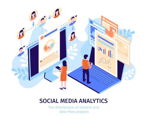 Plantilla isométrica de análisis de redes sociales