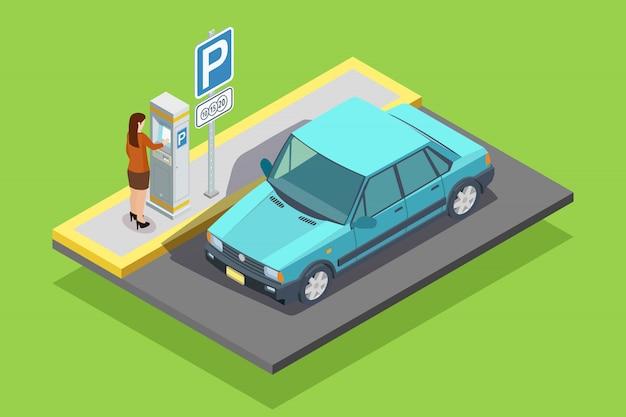 Plantilla isométrica de aparcamiento