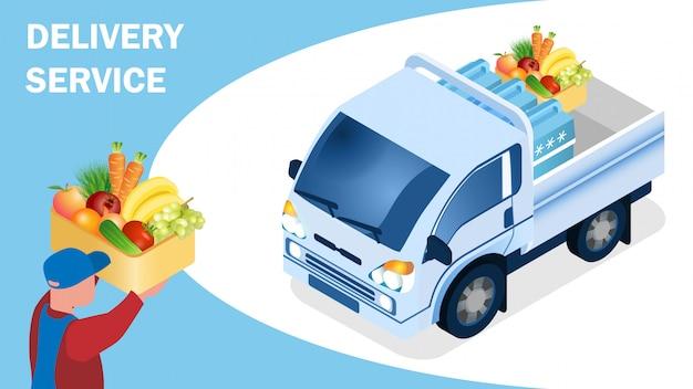 Plantilla isométrica de la bandera de la logística de la entrega de alimentos