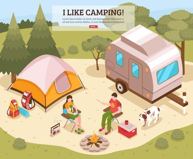Plantilla isométrica de barbacoa de camping