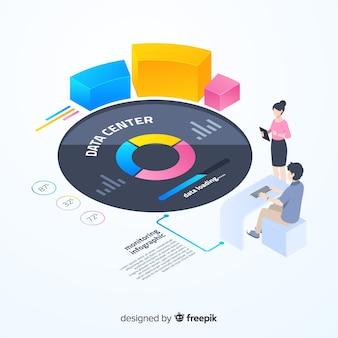 Plantilla isométrica y colorida de infografía de monitorización