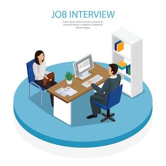 Plantilla isométrica de contratación de empleo