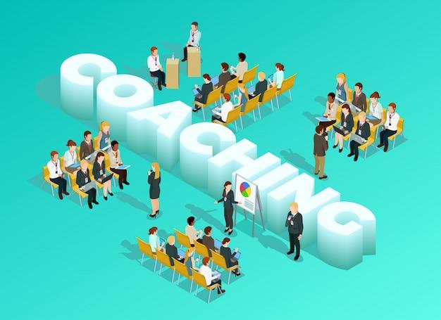 Plantilla isométrica de educación empresarial