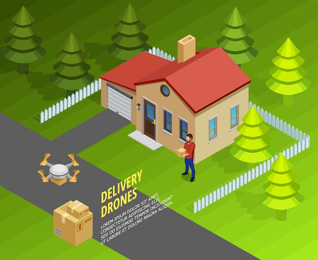 Plantilla isométrica de entrega de drones