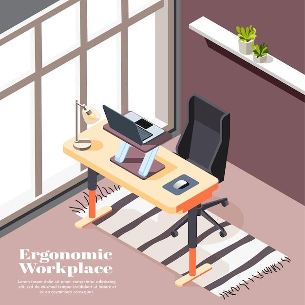 Plantilla isométrica ergonómica del lugar de trabajo