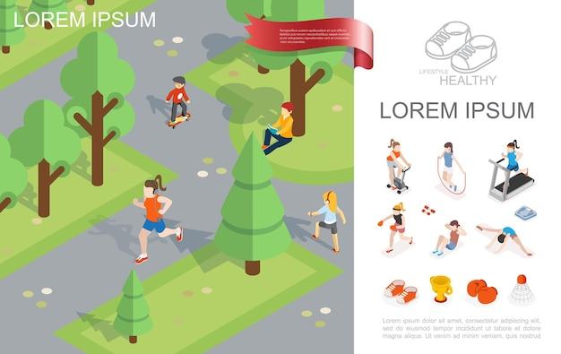 Plantilla isométrica de estilo de vida saludable con niñas corriendo y leyendo, niño montando patineta en el parque de la ciudad, equipo deportivo y mujeres en la ilustración de gimnasio