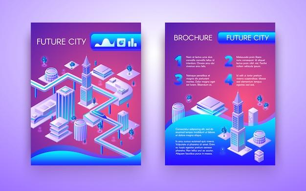 Plantilla isométrica del folleto conceptual de la ciudad futura en colores fluorescentes vibrantes con el metro