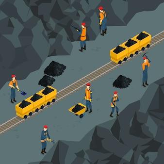 Plantilla isométrica de la industria del carbón