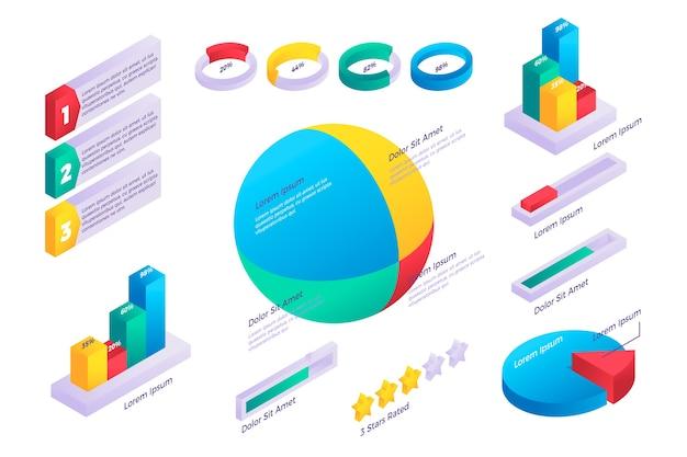 Plantilla isométrica para infografía