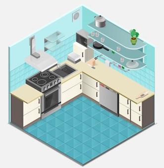 Plantilla isométrica interior de cocina