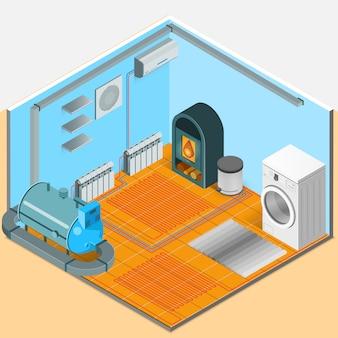 Plantilla isométrica interior del sistema de enfriamiento de calefacción