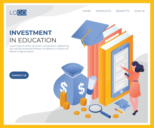 Plantilla isométrica de inversión en educación