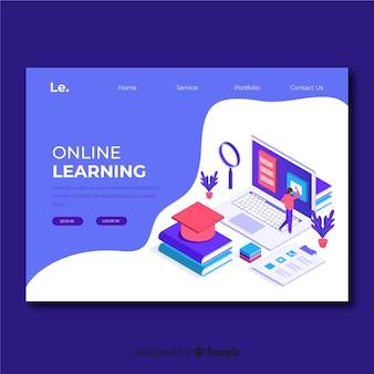 Plantilla isométrica de landing page de educación online