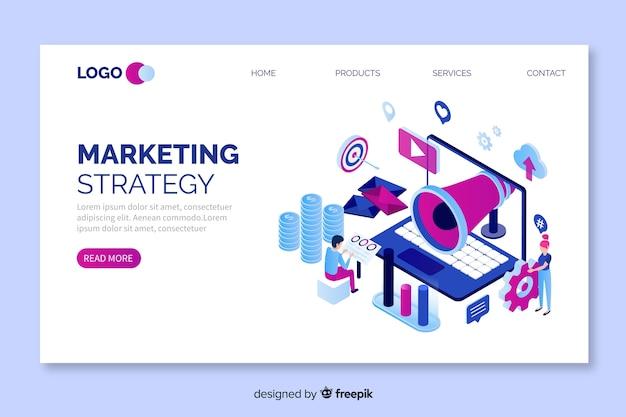 Plantilla isométrica de landing page de marketing