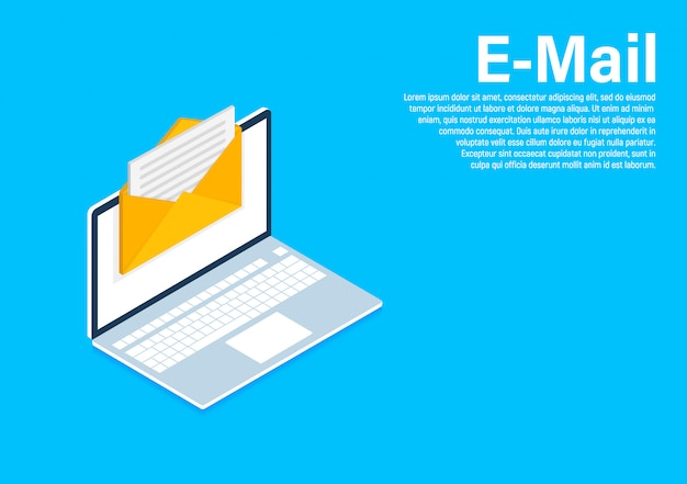 Plantilla isométrica de marketing por correo electrónico