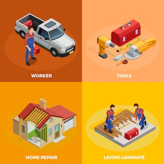 Plantilla isométrica de mejoras para el hogar