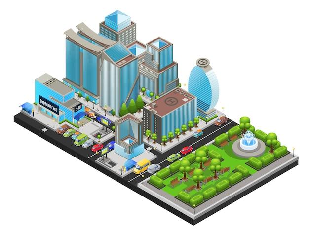 Plantilla isométrica de paisaje urbano moderno
