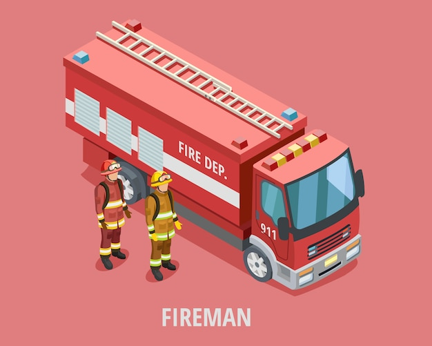 Plantilla isométrica profesión bombero