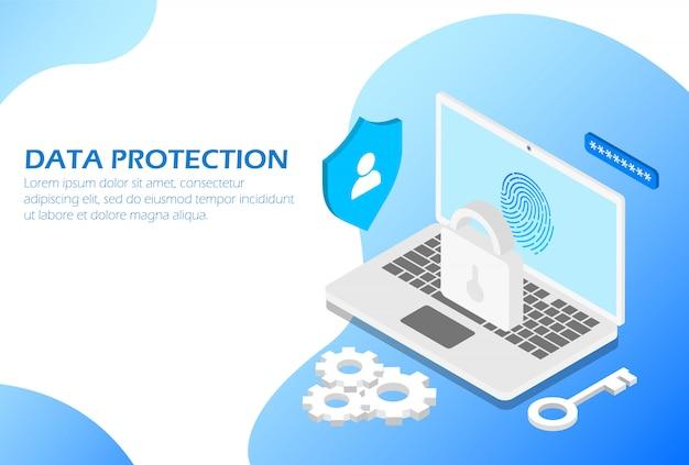 Plantilla isométrica de protección de datos