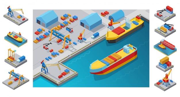 Plantilla isométrica del puerto marítimo