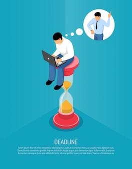Plantilla isométrica con reloj de arena y hombre trabajando en la computadora y pensando en la fecha límite 3d