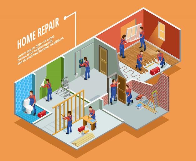 Plantilla isométrica de reparación de hogar